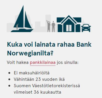 Bank Norwegian ehdot asiakkuudelle