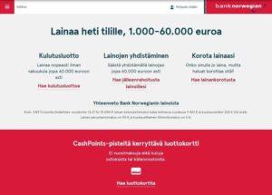 Bank Norwegian laina ja luottokortti