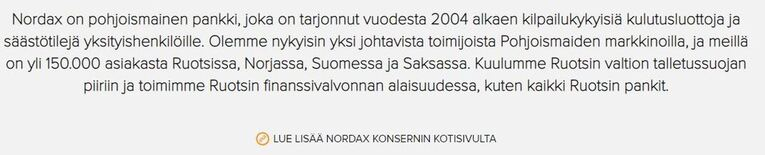 Tietoa Nordax Bankista