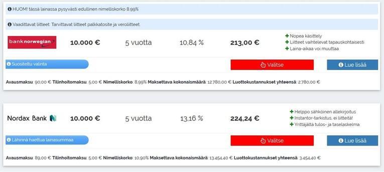 bank norwegian tarjous