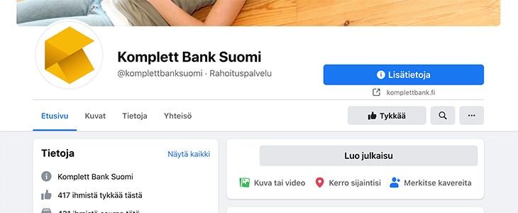 Komplett Bank Facebook