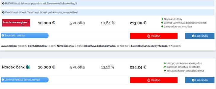 Rahoitu.fi lainatarjoukset